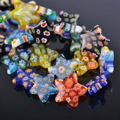 10pcs 20mm Star Colorful Millefiori Glass Loose Spacer DIY Craft Beads Lots