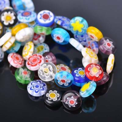 50pcs 12mm Oblate Coin Colorful Millefiori Glass Loose Spacer DIY Craft Beads