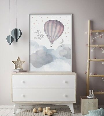 Oh The Places You'll Go - Nursery Print - Wall Art - Baby Kids Bedroom - Balloon