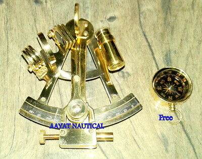 Vintage Ship Brass Sextant Astrolabe Maritime Nautical Sextant Decor Free Compas