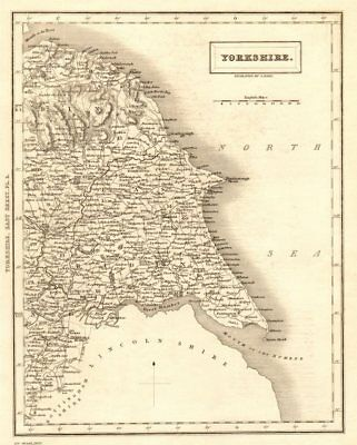 Antique county map of eastern YORKSHIRE by Sidney Hall 1833 old