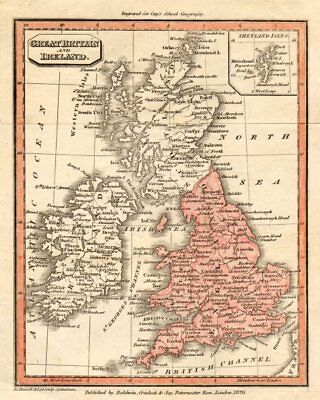 Great Britain and Ireland by John Charles Russell 1826 old antique map chart