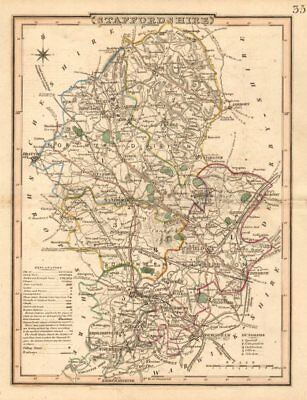 Antique county map of STAFFORDSHIRE by George COLE & John ROPER c1835 old