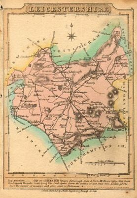 Antique county map of Leicestershire by James Wallis. Hand coloured 1810