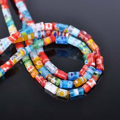 50pcs 5x7mm Tube Colorful Millefiori Glass Loose Spacer DIY Craft Beads Lots