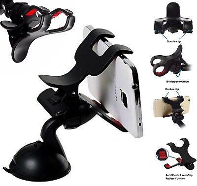 360 Universal Dashboard Mount Double Clip car van Truck Holder For All Phones