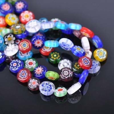 20pcs 10mm Oblate Coin Colorful Millefiori Glass Loose Spacer DIY Craft Beads
