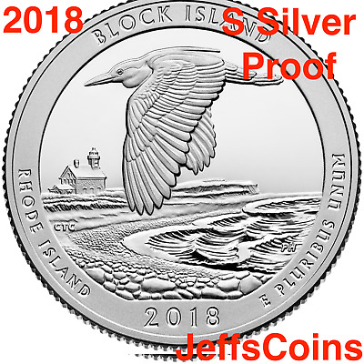 2018 S Block Island National Seashore 90% Silver Proof Park Quarter US.Mint