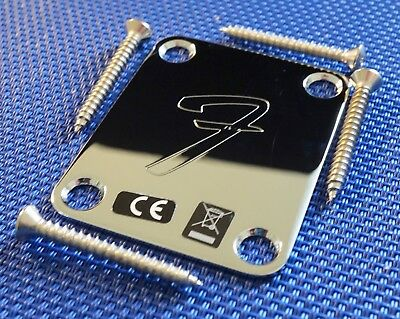 "Fender Mustang Chrome ""F"" Logo NECK PLATE & Bolts Guitar Parts Chrome"