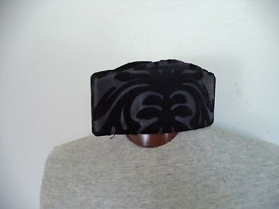 Men's Black Velvet Damask Handmade African Traditional Hats. One Size.