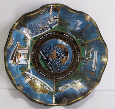 1964 New York World's Fair Souvenir Glass Ruffled Plate by Houze Art Marion PA,