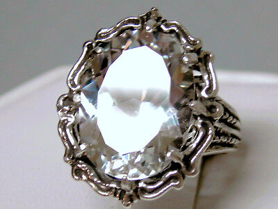 12ct white sapphire antique 925 sterling silver ring size 7.5 size 9 size 9.5