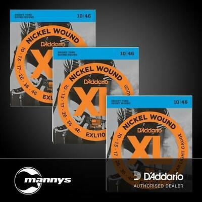D'Addario EXL110 Nickel, Regular Light, 10-46, Electric Strings (3-Pack)