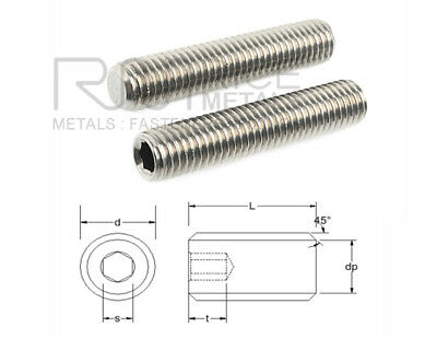 Socket Setscrews FLAT POINT Grub Screws A2 Stainless Steel Din 913  M1.6 to M20