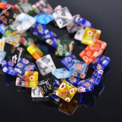 50pcs 10mm Square Colorful Millefiori Glass Loose Spacer DIY Craft Beads