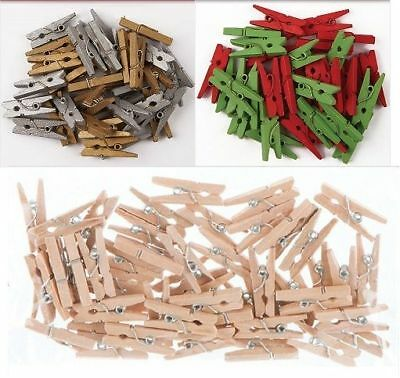 Docrafts 3cm Mini Pegs Choice of colour & pack size, natural, gold, silver, etc