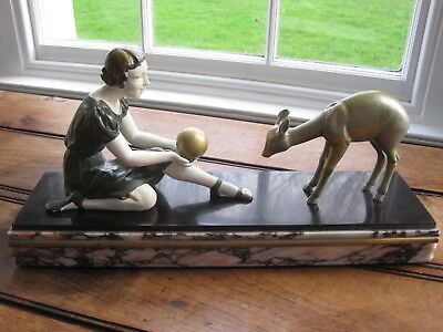 Art Deco Cold Painted Figurine of Girl with Deer on Marble Base