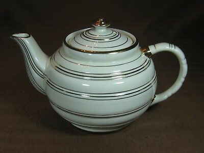 Sadler 1378 Ivory Colored Teapot with Gold Rings