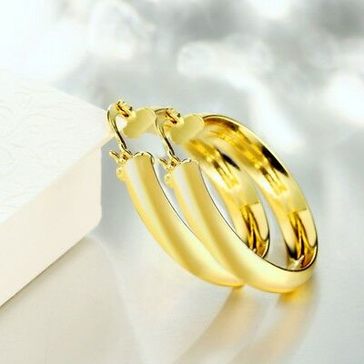 Gold & Sterling Silver Plated 3.4cm Large Thick Round Hoop Earrings + gift Pouch