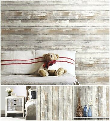 28.18 Square Feet Distressed Wood Peel and Stick Wallpaper Roll Removable