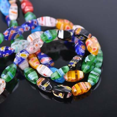 50pcs 6x12mm Twist Colorful Millefiori Glass Loose Spacer DIY Craft Beads Lots