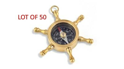 Lot Of 50 Wheel Compass Necklace Style/Pendant Key Chain Man's Gift Sailing