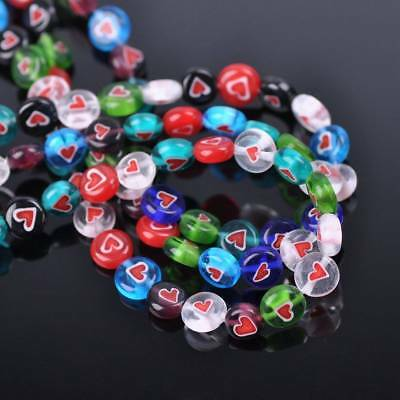 100pcs 8mm Oblate Coin Colorful Heart Millefiori Glass Loose Spacer Craft Beads