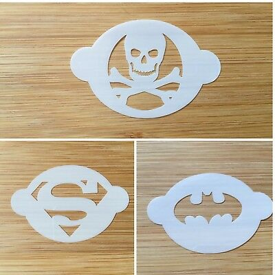 Face painting stage make up stencil SUPERHEROS 190 micron Mylar Plastic washable