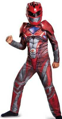 NWT-Boys Red Power Ranger Muscle Jumpsuit & Mask Halloween Costume-sz 4/6 & 7/8
