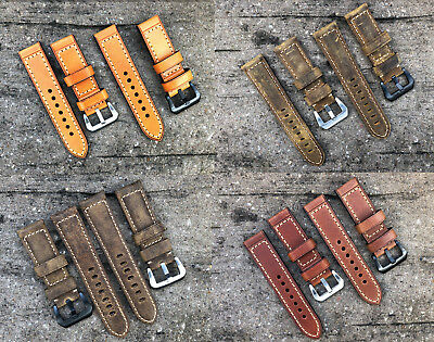 Genuine Leather Wrist Strap Band Buckle for Officine Panerai Watch 20 22 24 26mm