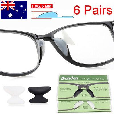 6 Pairs Silicon Anti-Slip Stick On Nose Pads for Eyeglass Sunglasses Glasses New
