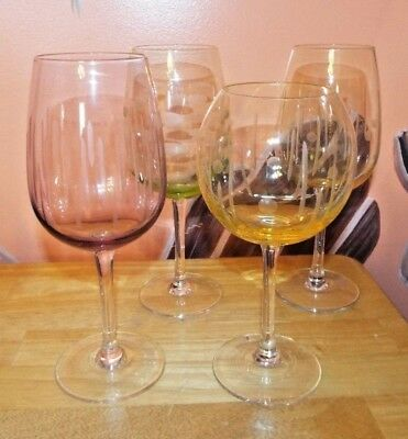 Set Of 4 Colorful Laser Etched Wine Glasses. Yellow, Green, Purple