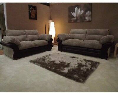 New Jeno BROWN JUMBO CORD RHINO FABRIC 2+2 SUITE SOFA,