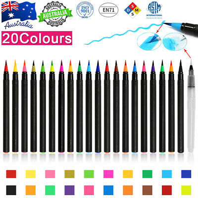 20-Color Watercolor Painting Pen Brushes Artist Sketch Drawing Marker Pens Set Q