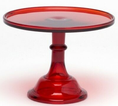 """Cake Plate Pastry Tray Bakers Cupcake Stand Plain & Simple Red Glass Mosser 10"""""""