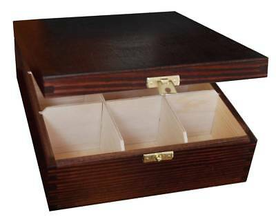 Wooden Tea Bag Box 9 Compartments Sections Storage Caddy Chest Organiser  (H9B)