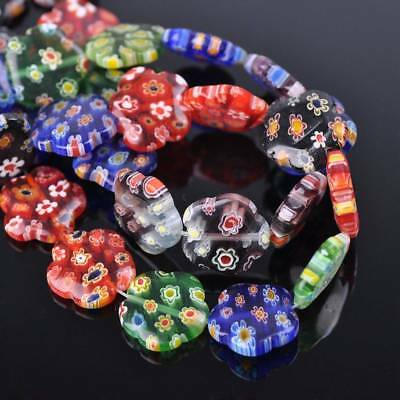 10pcs 16mm Flower Colorful Millefiori Glass Loose Spacer DIY Craft Beads Lots