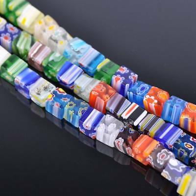 50pcs 8mm Cube Colorful Millefiori Glass Loose Spacer DIY Craft Beads Lots