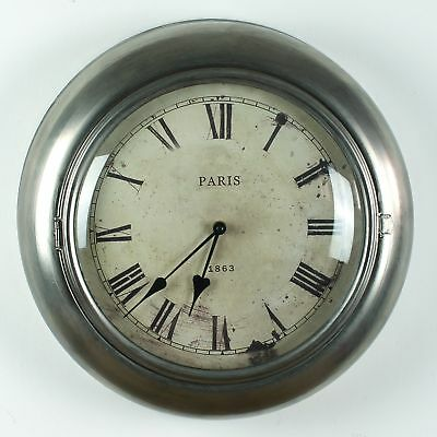 Extra Large Vintage Wall Clock Oversized Silver Metal French Antique Shabby Chic