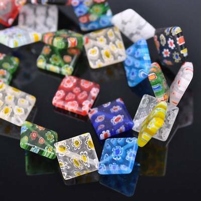10pcs 14mm Square Colorful Millefiori Glass Loose Spacer DIY Craft Beads