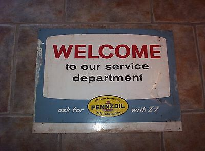 Vintage 1965 PENNZOIL WELCOME Service Department METAL SIGN with Z-7 Old Gas Oil