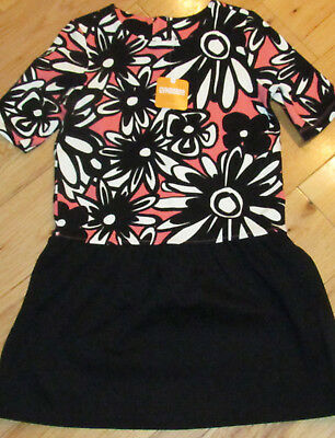 Gymboree Kitty In Pink black & coral flower floral knit ponte dress NWT 12 girls