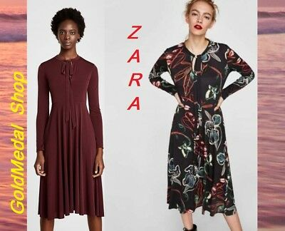 82346849 Zara New w/Tags Dress With Bow At The Neck Dark Maroon & Floral Print
