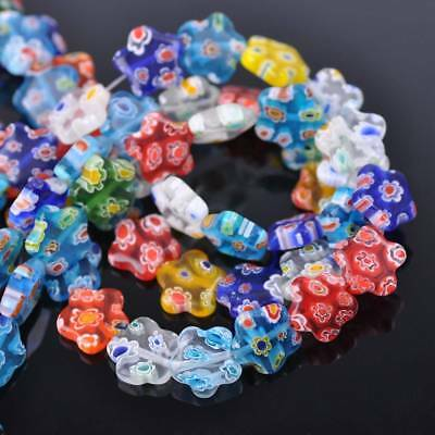 50pcs 10mm Flower Colorful Millefiori Glass Loose Spacer DIY Craft Beads Lots