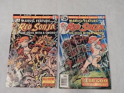Marvel Feature Presents Red Sonja Marvel Lot Of 2 Bronze Age Comic Book LotVG/FN