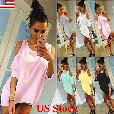 US Womens Summer Cold Shoulder Short Sleeve T Shirt Tops Loose Blouse Plus Size
