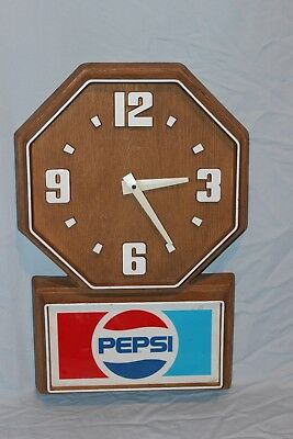 Vintage Pepsi-Cola Wall Clock Faux Wood