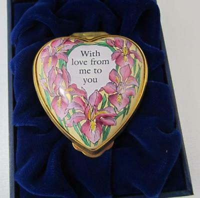 Halycon Days Enamel HEART Trinket Box With Love from Me to You
