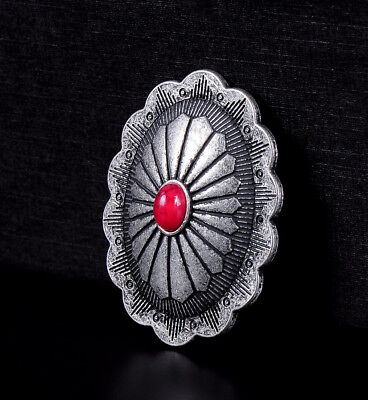 10pc Southwest Oval RED Turquoise Vintage Silver Leathercraft Saddles Conchos