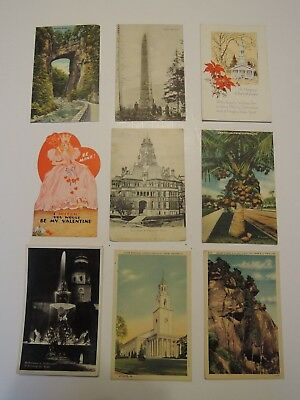 Vintage lot of 9 Postcards from the 1938, 1939, 1940's Historic